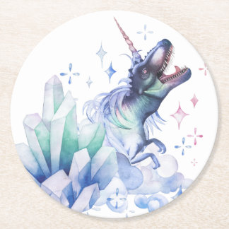 Dinocorn Party | Crystal Fantasy Dinosaur Unicorn Round Paper Coaster