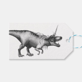 Dinocorn Party | Monochrome Unicorn Dinosaur Roar Gift Tags