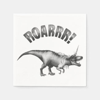 Dinocorn Party | Monochrome Unicorn Dinosaur Roar Napkin
