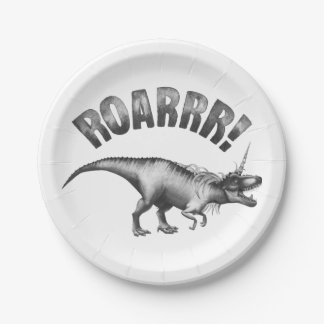 Dinocorn Party | Monochrome Unicorn Dinosaur Roar Paper Plate