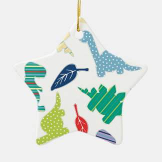 Dinomite! Cute Colorful Dinosaur Pattern Double-Sided Star Ceramic Christmas Ornament