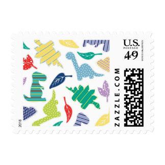Dinomite! Cute Colorful Dinosaur Pattern Postage Stamp