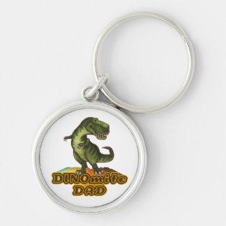 Dinomite Dad Silver-Colored Round Keychain