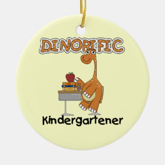 Dinorific Kindergartener T-shirts and Gifts Double-Sided Ceramic Round Christmas Ornament