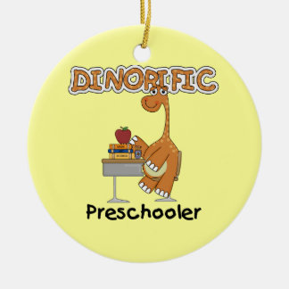 Dinorific Preschooler T-shirts and Gifts Double-Sided Ceramic Round Christmas Ornament