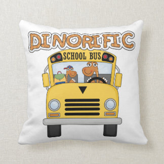Dinorific School Bus T-shirts and Gifts Throw Pillow