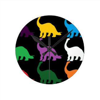 Dinos coloreado reloj de pared