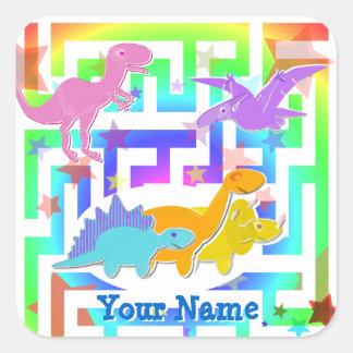 Dinos lindo en pegatinas del color de un nombre pegatina cuadrada