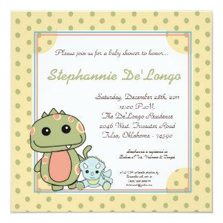 "Dinos Play Dinosaurs T Rex Baby Shower Invitation 5.25"" Square Invitation Card"