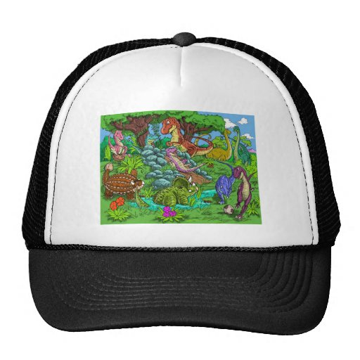 dinos_playing trucker hat