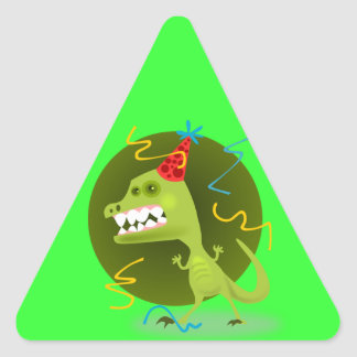 Dino's Rock - Dinosaur Birthday Party Triangle Sticker