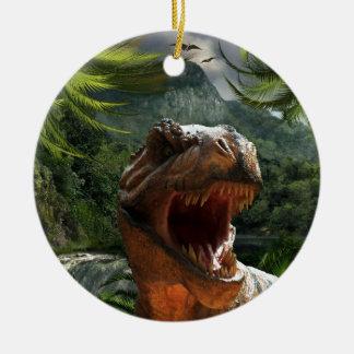 dinosau del rex del tyrannosaurus adorno navideño redondo de cerámica