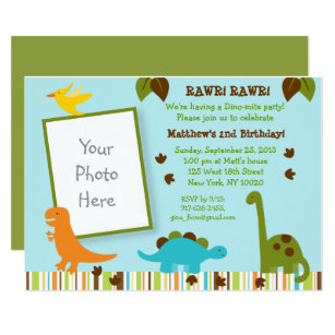 Dinosaur 1st Birthday Invitation