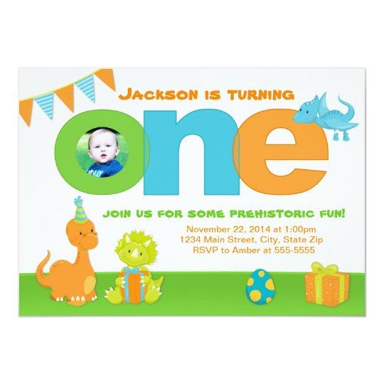 Dinosaur 1st Birthday Invitation 5x7 Photo Card