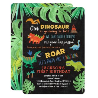 Dinosaur 1st Birthday Invitations Roar Dino Party