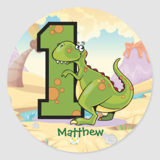 Dinosaur 1st Birthday Party Custom Classic Round Sticker