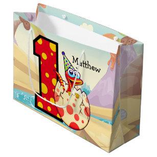 Dinosaur 1st Birthday Party Custom Large Gift Bag