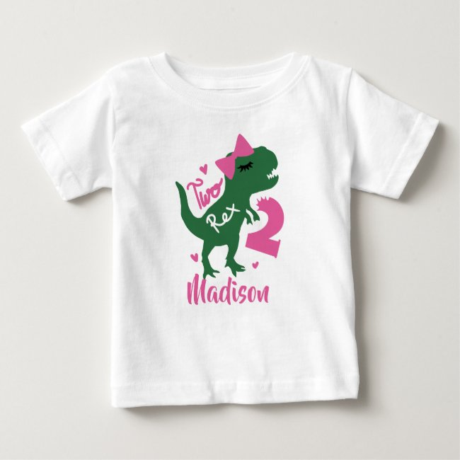 Dinosaur 2nd Birthday Girl | Add Your Name Baby T-Shirt