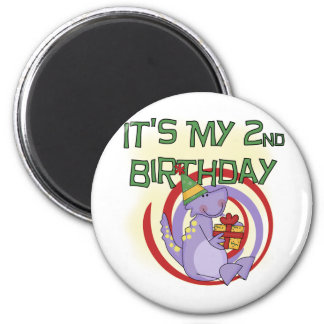 Dinosaur 2nd Birthday Tshirts and Gifts Magnet