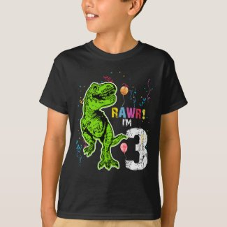 Dinosaur 3rd Birthday T-Rex T-Shirt