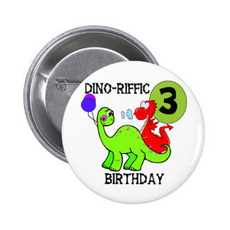 Dinosaur 3rd Birthday Tshirts and Gifts Button