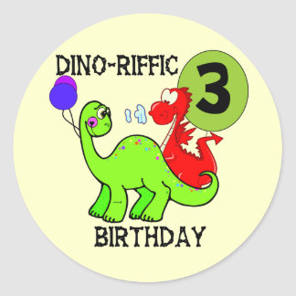 Dinosaur 3rd Birthday Tshirts and Gifts Classic Round Sticker