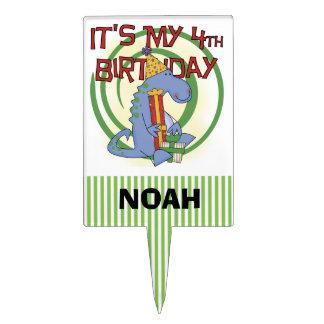 Dinosaur 4th Birthday Cake Topper