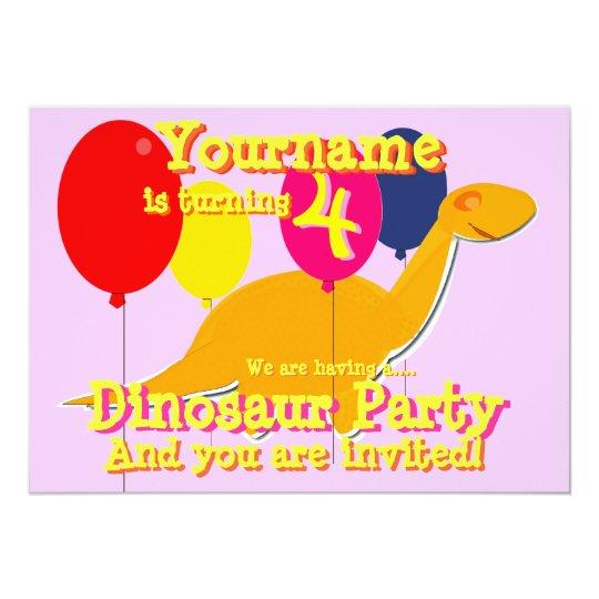 Dinosaur 4th Birthday Party Invitations
