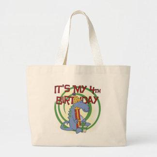 Dinosaur 4th Birthday T-shirts and Gifts Tote Bag