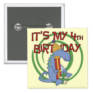 Dinosaur 4th Birthday T-shirts and Gifts Pinback Button