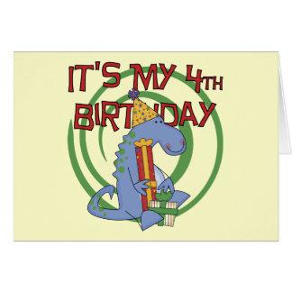 Dinosaur 4th Birthday T-shirts and Gifts Card