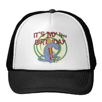 Dinosaur 4th Birthday T-shirts and Gifts Trucker Hat