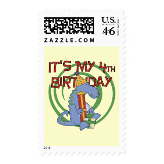 Dinosaur 4th Birthday T-shirts and Gifts Stamps
