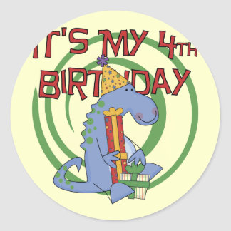 Dinosaur 4th Birthday T-shirts and Gifts Round Stickers
