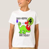 Dinosaur 4th Birthday Tshirts and Gifts