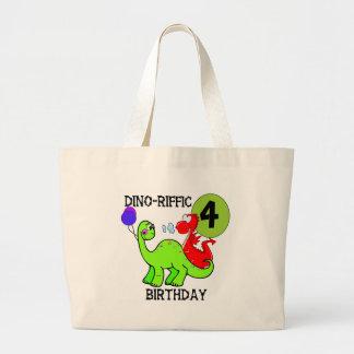 Dinosaur 4th Birthday Tshirts and Gifts Canvas Bags