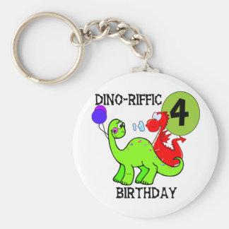 Dinosaur 4th Birthday Tshirts and Gifts Basic Round Button Keychain