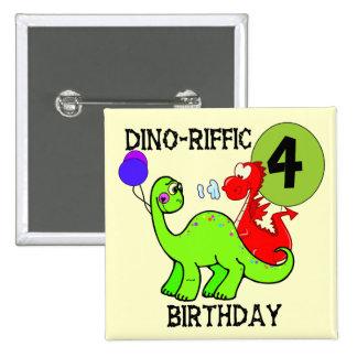 Dinosaur 4th Birthday Tshirts and Gifts Pin
