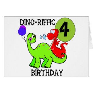 Dinosaur 4th Birthday Tshirts and Gifts Greeting Card
