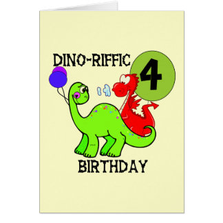 Dinosaur 4th Birthday Tshirts and Gifts Cards
