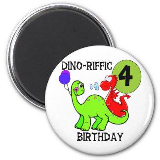 Dinosaur 4th Birthday Tshirts and Gifts Refrigerator Magnets
