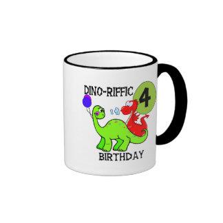 Dinosaur 4th Birthday Tshirts and Gifts Coffee Mug