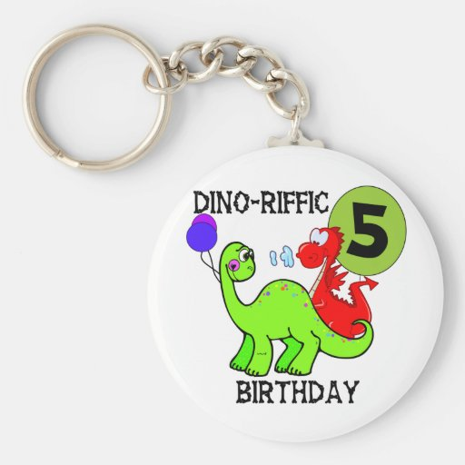 Dinosaur 5th Birthday T-shirts and Gifts Keychains