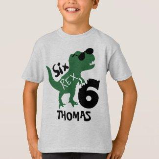 Dinosaur 6th Birthday T-Shirt | Six T-Rex