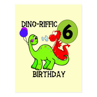Dinosaur 6th Birthday T-shirts and Gifts Postcard