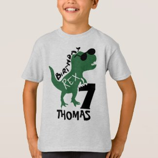 Dinosaur 7th Birthday T-Shirt | Add Your Name