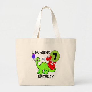 Dinosaur 7th Birthday T-shirts and Gifts Canvas Bags