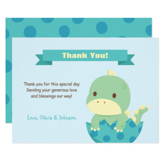 Dinosaur About to Hatch Baby Shower Thank You Note Card