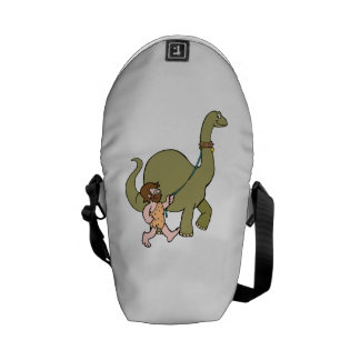 Dinosaur And Caveman Courier Bags