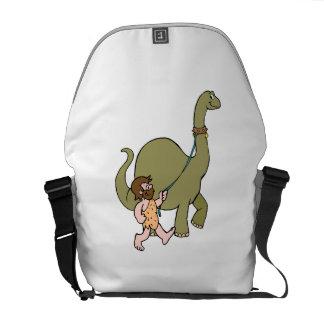 Dinosaur And Caveman Messenger Bags